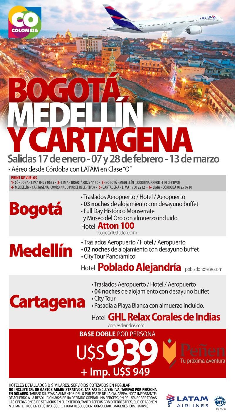 Bogotá, Medellín y Cartagena
